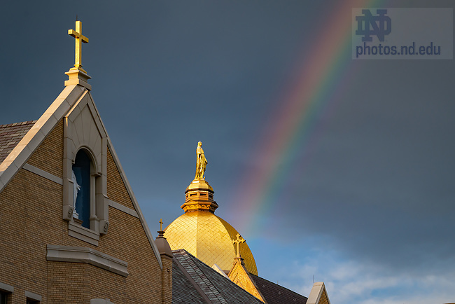 August 27, 2020; Rainbow behind Corby Hall and the Golden Dome (Photo by Matt Cashore/University of Notre Dame)