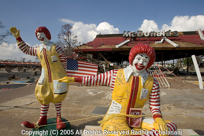 Biloxi - October 02: Graffiti and a message of hope adorn two Ronald McoDonald statues at a destroyed McDonalds along the beachfront October 2, 2005 after Hurricane Katrina struck the Gulf Coast in Biloxi. (Photo By Radhika Chalasani/Getty Images)