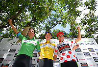 Tournament champions, from left, Dylan Newbury (sprint), Ben O'Conner (overall champion) and Ryan Christiansen (King Of the Mountain) at the end of the NZ Cycle Classic stage five of the UCI Oceania Tour in Masterton, New Zealand on Saturday, 23 January 2016. Photo: Dave Lintott / lintottphoto.co.nz