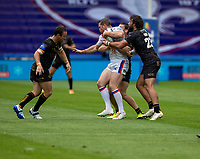 22nd August 2020; The John Smiths Stadium, Huddersfield, Yorkshire, England; Rugby League Coral Challenge Cup, Catalan Dragons versus Wakefield Trinity; Matty Ashurst of Wakefield Trinity is tackled by Antoni Maria of Catalan Dragons