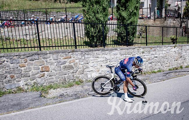Kristian Sbaragli (ITA/Alpecin-Fenix) re-descending on the first climb of the day (the Colle Gallo) to pick up his dropped sunglasses<br /> <br /> 114th Il Lombardia 2020 (1.UWT)<br /> 1 day race from Bergamo to Como (ITA/231km) <br /> <br /> ©kramon