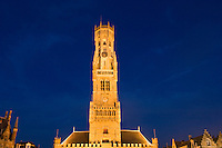 Belgium, Bruges, Belfry Tower at night