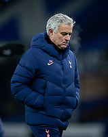 10th February 2021, Goodison Park, Liverpool, England;  Tottenham Hotspurs manager Jose Mourinho walks off the pitch after the FA Cup 5th round match between Everton FC and Tottenham Hotspur FC at Goodison Park