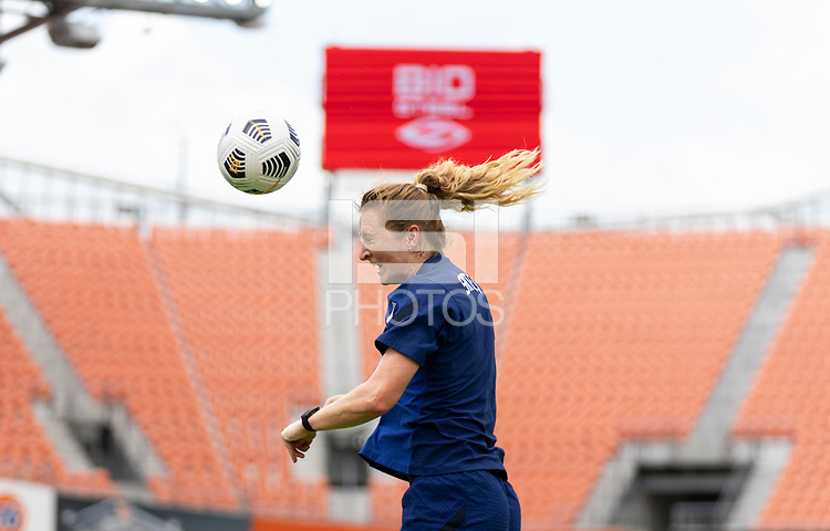 HOUSTON, TX - JUNE 9: Samantha Mewis #3 of the USWNT heads the ball during a training session at BBVA Stadium on June 9, 2021 in Houston, Texas.