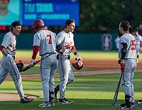 STANFORD, CA - JUNE 7: Brock Jones, Tim Tawa, Kody Huff during a game between UC Irvine and Stanford Baseball at Sunken Diamond on June 7, 2021 in Stanford, California.