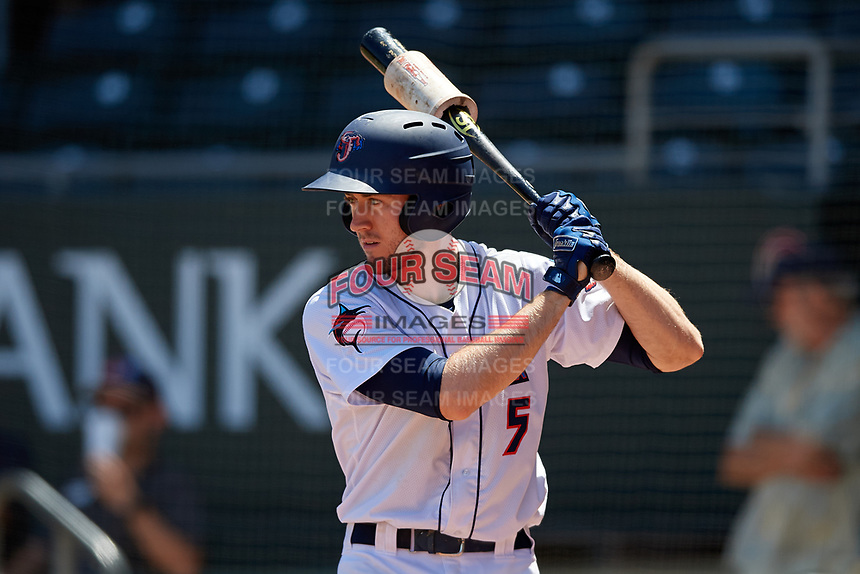 Jacksonville Jumbo Shrimp pinch hitter Brian Miller (5) on deck during a Southern League game against the Tennessee Smokies on April 29, 2019 at Baseball Grounds of Jacksonville in Jacksonville, Florida.  Tennessee defeated Jacksonville 4-1.  (Mike Janes/Four Seam Images)
