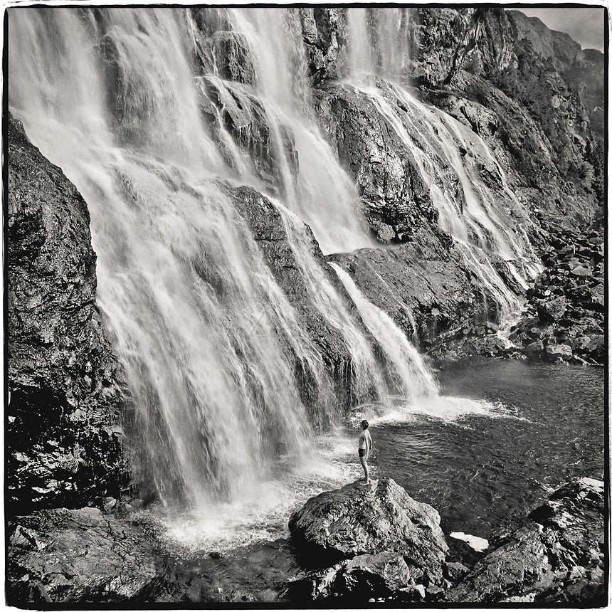 Carte Blanche dancer Mikal standing as a force against nature at Laukelandsfossen on Dalsfjord in Gaular Kommune, Norway.  Image was shot on my old 500CM Hassy on TriX.  Exposure was by no means optimal!