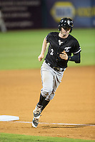 Landon Lassiter (2) of the Kannapolis Intimidators rounds third base after hitting a home run against the Greensboro Grasshoppers at NewBridge Bank Park on July 7, 2016 in Greensboro, North Carolina.  The Dash defeated the Pelicans 13-9.  (Brian Westerholt/Four Seam Images)