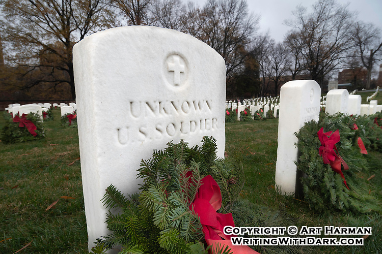 Unknown Soldier at Alexandria National Cemetery by Art Harman, taken while participating in 'Wreaths Across America,' for the laying of Remembrance wreaths on the graves of our country's fallen heroes.