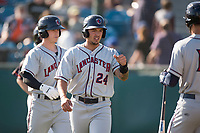 Lancaster JetHawks third baseman Colton Welker (24) is congratulated by Willie Abreu (13) after scoring a run during a California League game against the San Jose Giants at San Jose Municipal Stadium on May 12, 2018 in San Jose, California. Lancaster defeated San Jose 7-6. (Zachary Lucy/Four Seam Images)