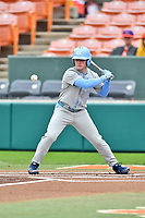 North Carolina Tar Heels center fielder Dylan Harris (3) watches a pitch during a game against the Clemson Tigers at Doug Kingsmore Stadium on March 9, 2019 in Clemson, South Carolina. The Tigers defeated the Tar Heels 3-2 in game one of a double header. (Tony Farlow/Four Seam Images)
