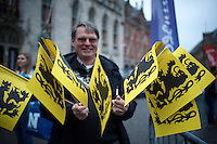 Flanders Lion Flags at the start<br /> <br /> 100th Ronde van Vlaanderen 2016