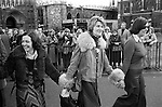Mairead Corrigan Maguire   Mrs Jane Ewart Biggs, Betty Williams, Peace Movement. Peace People. Peace March outside Westminster Abbey London 1976.<br /> <br /> Mairead Corrigan  Mrs Jane Ewart  Biggs, Betty Williams,