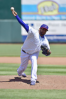 Andres Santiago (44) of the Iowa Cubs pitches against the New Orleans Zephyers at Principal Park on April 23, 2015 in Des Moines, Iowa.  The Zephyrs won 9-2.  (Dennis Hubbard/Four Seam Images)