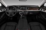 Stock photo of straight dashboard view of a 2019 Genesis G80 RWD 4 Door Sedan