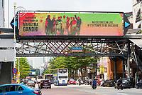 Banner Promoting Cultural Diversity, Ghandi's 150th Birthday, Little India, Brickfields, Kuala Lumpur, Malaysia.