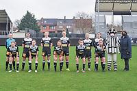 team picture Eendracht Aalst ( Goalkeeper Silke Baccarne (1) of Eendracht Aalst , Annelies Van Loock (9) of Eendracht Aalst , Loes Van Mullem (33) of Eendracht Aalst , Margaux Van Ackere (37) of Eendracht Aalst , Stephanie Van Gils (27) of Eendracht Aalst , Valentine Hannecart (8) of Eendracht Aalst and Niekie Pellens (41) of Eendracht Aalst , Anke Vanhooren (7) of Eendracht Aalst , Daisy Baudewijns (30) of Eendracht Aalst , Justine Blave (22) of Eendracht Aalst , Chloe Van Mingeroet (17) of Eendracht Aalst ) pictured before a female soccer game between Eendracht Aalst and OHL on the 13 th matchday of the 2020 - 2021 season of Belgian Scooore Womens Super League , Saturday 6 th of February 2021  in Aalst , Belgium . PHOTO SPORTPIX.BE   SPP   STIJN AUDOOREN
