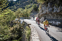 yellow jersey / GC leader Alexander Kristoff (NOR/UAE-Emirates) coming down the Col de Turini<br /> <br /> Stage 2 from Nice to Nice (186km)<br /> <br /> 107th Tour de France 2020 (2.UWT)<br /> (the 'postponed edition' held in september)<br /> <br /> ©kramon