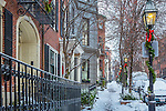 December snow on Beacon Hill, Boston, Massachusetts, USA