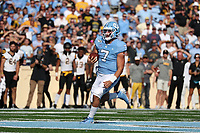 CHAPEL HILL, NC - SEPTEMBER 21: Sam Howell #7 of the University of North Carolina runs the ball in for a touchdown during a game between Appalachian State University and University of North Carolina at Kenan Memorial Stadium on September 21, 2019 in Chapel Hill, North Carolina.