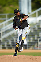 Bristol Pirates relief pitcher Leandro Pina (26) in action against the Danville Braves at American Legion Post 325 Field on July 1, 2018 in Danville, Virginia. The Braves defeated the Pirates 3-2 in 10 innings. (Brian Westerholt/Four Seam Images)