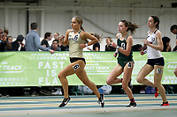 WINSTON-SALEM, NC - FEBRUARY 07: Lily Harding-Delooze #6 of Wake Forest University leads Chandler Horton #4 of the University of North Carolina Charlotte and Charlie Boxall #10 of Lee University in the Women's 1 Mile Run at JDL Fast Track on February 07, 2020 in Winston-Salem, North Carolina.