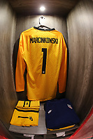GUADALAJARA, MEXICO - MARCH 24: The locker for James Marcinkowski #1 of the United States before a game between Mexico and USMNT U-23 at Estadio Jalisco on March 24, 2021 in Guadalajara, Mexico.