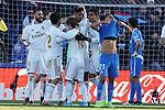 Real Madrid's Isco Alarcon, Garet Bale, Luka Modric, Raphael Varane, Carlos Henrique Casemiro and Karim Benzema celebrate goal in presence of Getafe CF's Faycal Fajr dejected during La Liga match. January 4,2020. (ALTERPHOTOS/Acero)