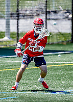 1 May 2021: Stony Brook University Seawolves Attacker Tom Haun, a Graduate Student from Ronkonkoma, NY, in action against the University of Vermont Catamounts at Virtue Field in Burlington, Vermont. The Cats edged out the Seawolves 14-13 with less than one second to play in their America East Men's Lacrosse matchup. Mandatory Credit: Ed Wolfstein Photo *** RAW (NEF) Image File Available ***