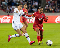HOUSTON, TX - JANUARY 31: Christen Press #20 of the USA and Maryorie Perez #14 of Panama go for the ball during a game between Panama and USWNT at BBVA Stadium on January 31, 2020 in Houston, Texas.