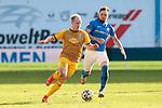20.02.2021, xtgx, Fussball 3. Liga, FC Hansa Rostock - SV Waldhof Mannheim, v.l. Dennis Jastrzembski (Mannheim), Jan Loehmannsroeben (Hansa Rostock, 24) Zweikampf, Duell, Kampf, tackle <br /> <br /> (DFL/DFB REGULATIONS PROHIBIT ANY USE OF PHOTOGRAPHS as IMAGE SEQUENCES and/or QUASI-VIDEO)<br /> <br /> Foto © PIX-Sportfotos *** Foto ist honorarpflichtig! *** Auf Anfrage in hoeherer Qualitaet/Aufloesung. Belegexemplar erbeten. Veroeffentlichung ausschliesslich fuer journalistisch-publizistische Zwecke. For editorial use only.