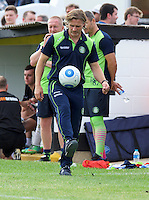Manager Gareth Ainsworth of Wycombe Wanderers shows off his skills during the Friendly match between Maidenhead United and Wycombe Wanderers at York Road, Maidenhead, England on 30 July 2016. Photo by Alan  Stanford PRiME Media Images.