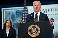 U.S. President Joe Biden speaks during an event marking the day that families will get their first monthly Child Tax Credit relief payments through the American Rescue Plan at the White House on Thursday July 15, 2021 in Washington, D.C. <br /> CAP/MPIFS<br /> ©MPIFS/Capital Pictures