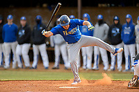 Josh Brammell (24) of the Patrick Henry Patriots is hit by a pitch in Game 2 of a junior college season-opening doubleheader against the Spartanburg Methodist College Pioneers on February 3, 2018, at Mooneyham Field in Spartanburg, South Carolina. (Tom Priddy/Four Seam Images)