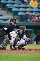 Altoona Curve catcher Jackson Williams (43) and umpire Mike Savakinas await the pitch during a game against the New Hampshire Fisher Cats on May 11, 2017 at Peoples Natural Gas Field in Altoona, Pennsylvania.  Altoona defeated New Hampshire 4-3.  (Mike Janes/Four Seam Images)