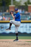 Durham Bulls relief pitcher Austin Pruitt (31) in action against the Charlotte Knights at BB&T BallPark on May 27, 2019 in Charlotte, North Carolina. The Bulls defeated the Knights 10-0. (Brian Westerholt/Four Seam Images)