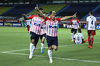 BARRANQUILLA - COLOMBIA, 16-01-2021:Teofilo Gutierrez del Atlético Junior celebra después de anotar el primer gol de su equipo durante el partido entre Atlético Junior y Deportivo Independiente Medellín por la fecha 1 de la Liga BetPlay DIMAYOR I 2021 jugado en el estadio Metropolitano Roberto Meléndez de la ciudad de Barranquilla. /Teofilo Gutierrez of Atletico Junior celebrates after scoring the first goal of his team during match between Atletico Junior and Deportivo Independiente Medellin for the date 1 as part of BetPlay DIMAYOR League I 2021 played at Metropolitano Roberto Melendez stadium in Barranquilla city.  Photo: VizzorImage / Jesus Rico / Contribuidor