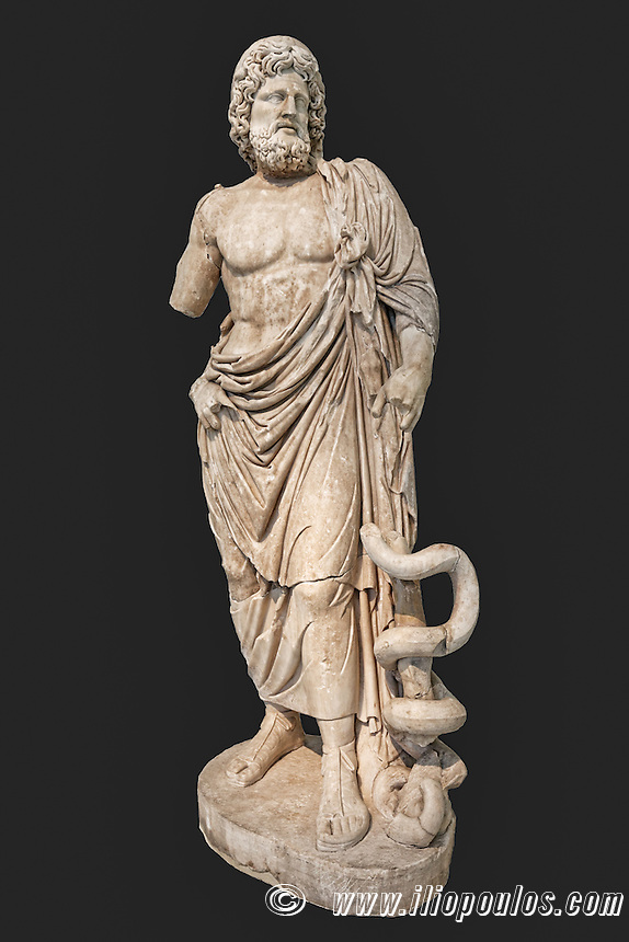 Marble statue of the god Asklepios (160 A.D.) in National Museum, Greece