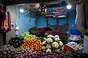 India - Sikkim -  A stand at the fruit and vegetable market in Gangtok where organic and non organic produce are mixed.