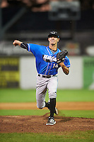 Hudson Valley Renegades relief pitcher Spencer Jones (14) during a game against the Batavia Muckdogs on August 2, 2016 at Dwyer Stadium in Batavia, New York.  Batavia defeated Hudson Valley 2-1.  (Mike Janes/Four Seam Images)