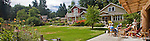 Built Green Homes, Conover Commons, New Craftsman style cottages, by the Cottage Company, Linda Pruitt, Developer, Ross Chapin, Architect, Seattle area, Redmond, Washington State, Pacific Northwest, USA, panorama,.