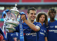 19th May 2018, Wembley Stadium, London, England; FA Cup Final football, Chelsea versus Manchester United; Cesar Azpilicueta of Chelsea poses with the FA Cup