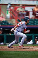 Reading Fightin Phils third baseman Mitch Walding (10) follows through on a swing during a game against the Erie SeaWolves on May 18, 2017 at UPMC Park in Erie, Pennsylvania.  Reading defeated Erie 8-3.  (Mike Janes/Four Seam Images)