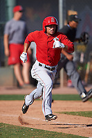 Los Angeles Angels David Fletcher (16) during an instructional league game against the Oakland Athletics on October 9, 2015 at the Tempe Diablo Stadium Complex in Tempe, Arizona.  (Mike Janes/Four Seam Images)