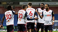 Bolton Wanderers' players celebrate their opening goal <br /> <br /> Photographer Andrew Kearns/CameraSport<br /> <br /> The EFL Sky Bet League Two - Bolton Wanderers v Salford City - Friday 13th November 2020 - University of Bolton Stadium - Bolton<br /> <br /> World Copyright © 2020 CameraSport. All rights reserved. 43 Linden Ave. Countesthorpe. Leicester. England. LE8 5PG - Tel: +44 (0) 116 277 4147 - admin@camerasport.com - www.camerasport.com
