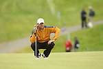 Rich Beem lining up a putt on the 17th during the first round of the ISPS Handa Wales Open 2012....31.05.12.©Steve Pope