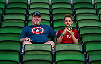 AUSTIN, TX - JUNE 16: Fans sit in the stands before a game between Nigeria and USWNT at Q2 Stadium on June 16, 2021 in Austin, Texas.