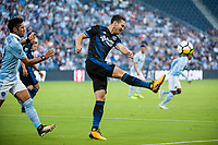 Kansas City, KS - Wednesday August 9, 2017: Francois Affolter during a Lamar Hunt U.S. Open Cup Semifinal match between Sporting Kansas City and the San Jose Earthquakes at Children's Mercy Park.
