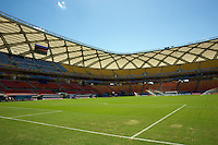 The patchy grass pitch at the Arena da Amazonia