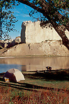 Missouri River, Lewis and Clark trail, Kayakers camping beside the White Cliffs, Upper Missouri River Breaks National Monument, Montana,North America,USA, .